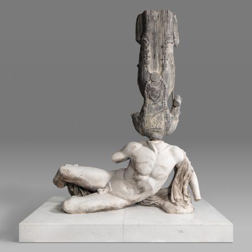 永生-北齐彩绘菩萨像,帕特农神庙西三角楣饰上的伊利索斯河神像