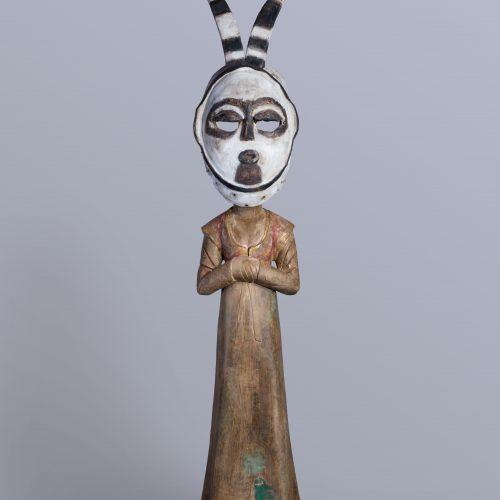 进化-唐彩绘侍女木俑、Bini 面具