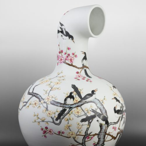 MadeIn Curved Vase - Vault-of-Heaven Vase with Magpie Pattern, Qianlong Period, Qing Dynasty
